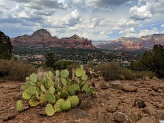 A late afternoon view over Sedona, AZ. (johnny4eyes1) Tags: sedona arizona desert landscape clouds cloudscape cloudporn dramaticlandscape cactus pricklypear wideangle cellphone mobile mobilephone googlepixel2 redrocks nationalgeographic