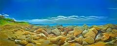 "Corfu 3 - ""Surreal Rocks!"" '[explored] (Leigh - ""Alive and Clicking!"") Tags: corfu seashore rocks colourful pamorama painterly extura"
