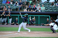 BIG SWING (MIKECNY) Tags: vermontlakemonsters tricityvalleycats dugout swing hit batter catcher baseball minorleague nypennleague astros as