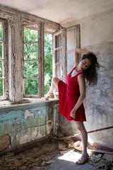 Elena 2 (xfoTOkex) Tags: lost place woman ggirl dress dancer warm up window nikon d800 light shadow long black hair gfashion