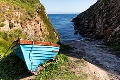 Hidden Boat (galvanol) Tags: blue coastline costalpath porthgwarra maritime hiking boat hikingcornwall galvanol beach cornwall