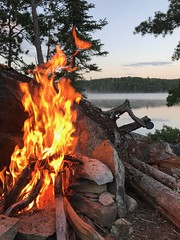 Quetico campfire (briandjan607) Tags: campsite orange flames firepit summer evening flame canada ontario queticoprovincialpark quetico hamburglake island lake outdoors camping campfire fire