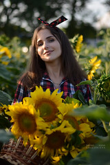 Environmental portrait (Elena Grigorieva) Tags: grigorievaphotography sunflowers field nikon beauty woman sun light warm hot summertime sunset portrait nikkor55300mm bokeh blurry background environmental outdoor girl smile happiness moments memories joy life live heart july