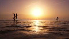 Caminando sobre las aguas (jantoniojess) Tags: cádiz playadelavictoria playa beach silhouette silueta agua sunset puestadesol sol sun atardecer atardecerenlaplaya ocaso andalucía españa spain reflejosenelagua reflejos reflexes panasoniclumixtz80 mar