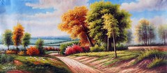 A Path in the Wilderness, Art Painting / Oil Painting For Sale - Arteet™ (arteetgallery) Tags: arteet oil paintings canvas art artwork fine arts landscape tree sky season autumn grass clouds summer plant yellow leaves countryside fall forest trees natural park colorful color scenery design meadow environment scene orange outdoors country rural spring scenic wallpaper cloud october field bright horizon outdoor decoration seasonal landscapes pastorals fields green brown paint