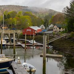 Camden Harbor (Bud in Wells, Maine) Tags: camden camdenharbor maine spring boats pilings fog mist reflections