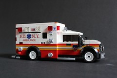 FDNY Ambulance 1215 (sponki25) Tags: ny nyc newyork newyorkcity newyorkcounty manhattan fdny newyorkcityfiredepartment firetruck fireengine fdnyems ems ambulance ford fseries f550 wheeledcoach lego legonyc moc