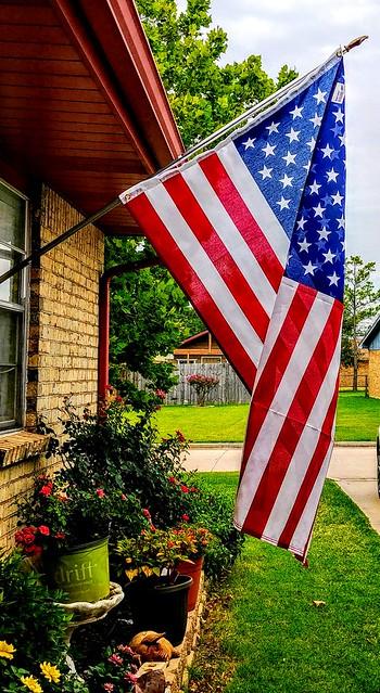 american flag yard flowerbed