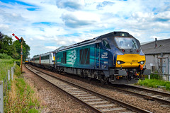 68018 + 68002 - Brundall - 16/06/18. (TRphotography04) Tags: direct rail services drs 68018 vigilant 68002 intrepid rumble past brundall working 2c73 1547 great yarmouth norwich the 68s topntailed greater anglia dvt 82118 8mk3s provided two topntail class 68 sets for airshow