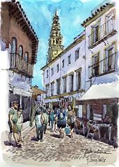 Una calle de Cordoba (P.Barahona) Tags: urbano pluma acuarela córdoba calle arquitectura torre tiendas gente