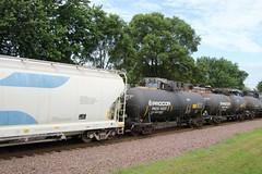 Of course a meet with NS / UP power on the hidden train (kschmidt626) Tags: union pacific train illinois rochelle park railroad graffiti bnsf burlington diamond