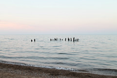 Distant (Flint Foto Factory) Tags: chicago illinois urban city summer july 2018 north rogerspark leone beach park lakemichigan lake pm evening dusk 1222 wtouhyave touhy sheridan intersection water shimmer reflection broken wood wooden piers horizon beautiful peaceful serene