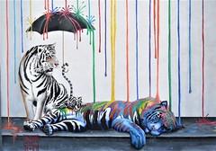 Tiger colors, Mural Art (moonjazz) Tags: tigers art mural california carlsbad color creative umbrella stripes paint fun vivid rainbow street wall funny sleeping artist blue yellow red primary trick