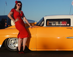 Holly_9277 (Fast an' Bulbous) Tags: classic american car chevy shoebox racecar santa pod pinup girl woman hot sexy chick babe long brunette hair red wiggle dress high heels stockings nylons