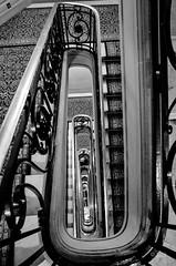 look down (Jack_from_Paris) Tags: r0003163bw ricoh gr 28mm apsc capture nx2 lr monochrom noiretblanc street bw wide angle paris escaliers colimaçon vers le bas stairs