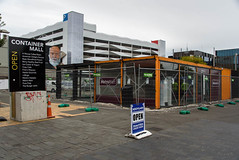 Not Much Open Here Now (Jocey K) Tags: newzealand nikond750 christchurch cbd building architecture signs rebuild roadcone sky
