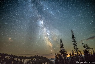Milky Way from Chinook Pass with the lights of Portland to the south.