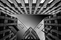 Mirror mirror on the wall... (alexring) Tags: mériadeck bordeaux france architecture modern reflection mirror 70s looking up nikon d750 bw alexring