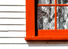 Lace Curtains (Karen_Chappell) Tags: window white red building house curtains lace wood wooden paint painted nfld newfoundland rural clapboard architecture geometry geometric lines torscove cribbies bright