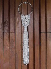 Small Macrame Wall Hanging (srivard72) Tags: macrame fiberart founditems upcycled decor wallhanging art ring etsy