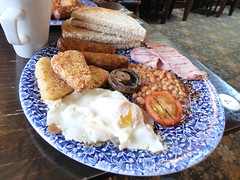 big breakfast (47604) Tags: egg bacon beans sausage mushroom hash brown toast butter coffee plate fork knife cup tomato breakfast yummy tasty enjoy baked fried grilled bread sauce table food ketchup china mug yolk grub weatherspoons kettering