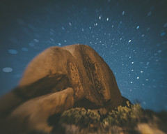 Joshua Tree rock face seen through a lensbaby at night (David Dasinger) Tags: mojave joshuatree night lensbaby rocks high desert