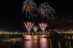San Juan celebration (Antonio Paramio) Tags: lights night fireworks spain bridge river reflection colors badajoz celebration fiesta extremadura españa es