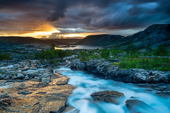 All kind of weather at once over the valley of Åseli, northern Norway. (frodekoppang) Tags: river norway bodø olympus olympus1240mmpro landscape midnightsun artic summer rain sun sunset mountain northernnorway longexposure