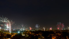 Neighborhood Fireworks at 4th of July 2018 (ep_jhu) Tags: neighborhood night fireworks 4thofjuly washington 7d dark basilicaofthenationalshrineoftheimmaculateconception 4th cua canon dc basilica fuegosartificiales
