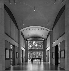 Kreeger Museum Great Hall (johngoucher) Tags: approved ceiling window architecture room arch arches wall walls hall philipjohnson architecturephotography bnw bw blackandwhite rokinon12mm wideangle museum art washingtondc kreegermuseum monet piano sonyimages sonya6000