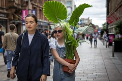 Planted (Leanne Boulton (Away)) Tags: people urban street candid portrait portraiture streetphotography candidstreetphotography candidportrait streetportrait streetlife groupshot woman women female girl face expression mood atmosphere summer sunglasses dungarees tropical plant leaf leaves green flora tone texture detail depthoffield bokeh naturallight outdoor light shade city scene human life living humanity society culture lifestyle canon canon5d 5dmkiii 70mm ef2470mmf28liiusm color colour glasgow scotland uk