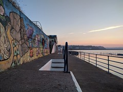 Mural (ancientlives) Tags: brixham devon england englishriviera uk europe torbay sunset sea bay sunshine shoalstone pool seawater seawaterpool art publicart mural soaring flight bird