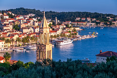Hvar Harbor at the Sunset (Wolfhowl) Tags: spring city landscape sunset dusk islands bay adriaticsea harbor cityscape boats sea town yacht yachting sun adriatic sailing oldtown hvar travel croatia yachts island architecture seascape shore europe marina hvartown