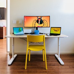 My desk set-up continues with a mildly used $50 IKEA BEKANT desk from FB Marketplace. Our dining table is finally available for dining. #desksetup #ikea #desk #computerdesk #Bekant (Seattle Raindrops) Tags: desksetup ikea desk computerdesk bekant
