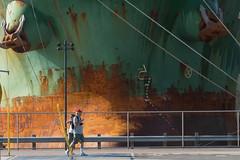 At Dock 2 (Gene Mordaunt) Tags: freighter walking toronto strolling sidewalk redpathsugar unloading rust nikon810 ship green streetscape