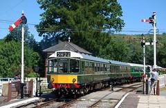 In a valley, but not the Calder. (Renown) Tags: train railway diesel multipleunit railcar railmotor rdc br britishrailways dmu llangollen caldervalley glyndyfrdwy station levelcrossing gradecrossing
