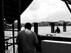 Layer of fishing (A. Yousuf Kurniawan) Tags: fishing river riverlife riverscape riverside layer minimalism minimalist contrast streetphotography urbanlife monochrome blackandwhite riverbank framing