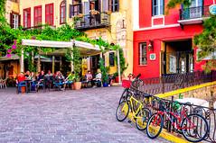 Chania, Crete (Kevin R Thornton) Tags: d90 taverna bicycle crete travel street city architecture greece nikon mediterranean chania transport creteregion gr