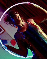 Dancing in the Dark (Mick Steff) Tags: dancing dark hula hoop ladies party sequins red lipstick macclesfield