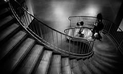 Gradation (明遊快) Tags: step walkway staircase contrast light shadow people monochrome stairs japanese woman spiral
