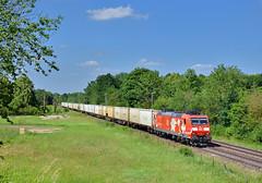 DB 185 142 Feldmoching (tobias.unsin) Tags: railway rail railroad train zug güterzug bahn bavaria bayern sunshine db locomotive lok logistik landschaft