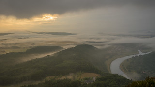 misty sunrise at Lilienstein