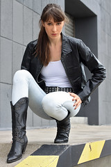 Natalie 99 (The Booted Cat) Tags: sexy brunette hair teen girl model tight jeans denim leather jacket belt boots cowboyboots