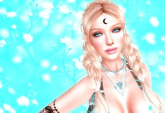 Modesty Of Beauty (Marion Gaultier Nezrulain) Tags: marion moon moonchild sl secondlife selfie flowers blond smiling necklaces tattoo turqoise lady light poem beautiful me myself i photoshop portrait photo profilephoto catwa catwaheadcatya catya truth