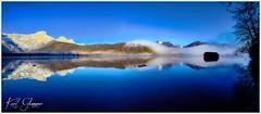 Almsee Panorama (Karl Glinsner) Tags: landschaft landscape österreich austria oberösterreich upperaustria salzkammergut outdoors morning morgen nebel fog see lake almtal grünau