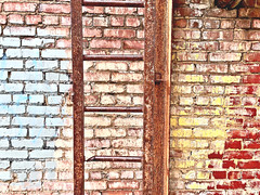 """Seek… and you shall find"" (Halvorsong) Tags: art composition photography photosafari hiddengems rust rusted rusty corrosion decay beauty beautifuldecay ruin abandoned color yellow red iron industry usa america americana nashville ladder brick wall walls god explore discover mosaic pattern patterns city urban urbanexplorer blight culture spirit texture textured halvorsong"