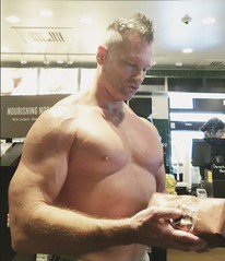 Starbucks (ddman_70) Tags: shirtless pecs abs muscle coffee shopping
