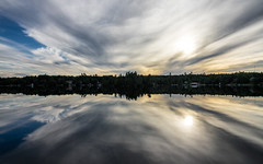 'X Marks the Spot' No 11 (Canadapt) Tags: lake reflection sunset clouds x shoreline cottages keefer canadapt