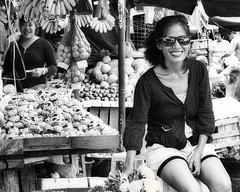 Happy Lady (Beegee49) Tags: woman street smiling laughing vendor fruit flowers bacolod city philippines filipina allfreepicturesjuly2018challenge