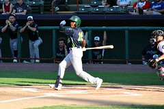 HIT TO LEFT (MIKECNY) Tags: swing hit hitter batter vermontlakemonsters minorleague nypennleague as baseball catcher